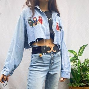 Embroidered denim cropped button up